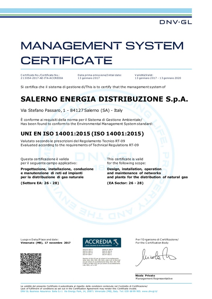Certificato 2017