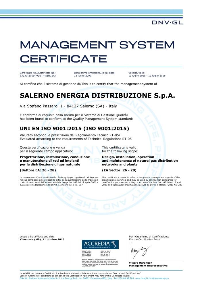Certificato 2016